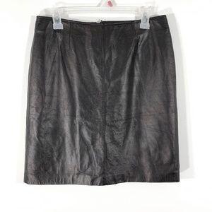 VINTAGE 80s 90s Black Leather Pencil Skirt